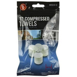 "12 pc Bag- Compressed Disposable Towels :100% Rayon, Expanded Size : 8-1/2"" to 9-1/2"""