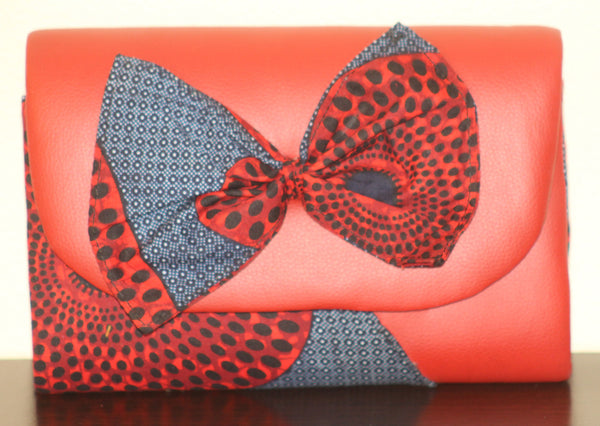 Ankara & Leather Clutch/Purse