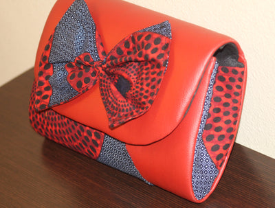 Ankara & Leather Clutch/Purse - Nubian Goods
