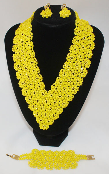 Beautiful Yellow Choker with Earrings, African Beaded Necklace