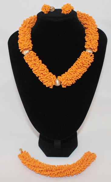 Beautiful Orange Choker with Earrings, African Beaded Necklace - Nubian Goods
