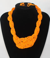 Twisted Beads Necklace and Earrings 2 PC Set - Nubian Goods