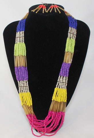 Long MultiStrand Beaded Necklace and Earrings 2 PC Set