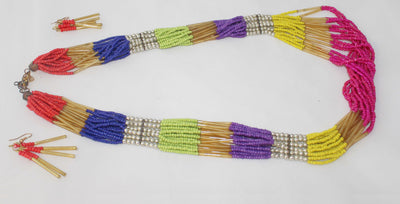 Long MultiStrand Beaded Necklace and Earrings 2 PC Set - Nubian Goods
