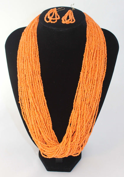 Multi Strand Beads Necklace and Earrings 2 PC Set