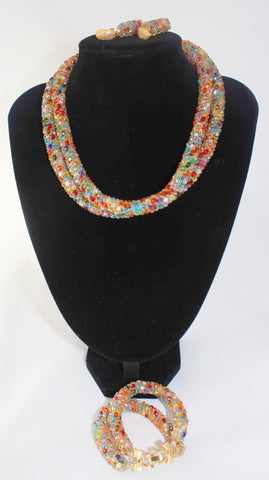 Multicolor Beads Double Bonded Necklace Bracelet Earrings 3 PC Set