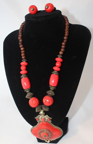Colorful Tribal Bronze Bead Necklace with Red Pendant and Earrings