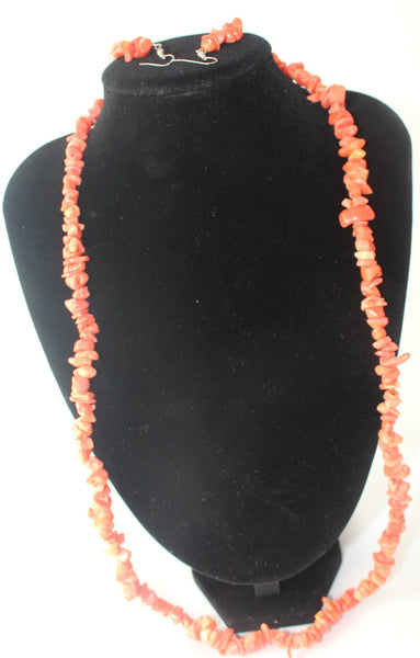 Orange Coral Beaded Necklace and Earrings