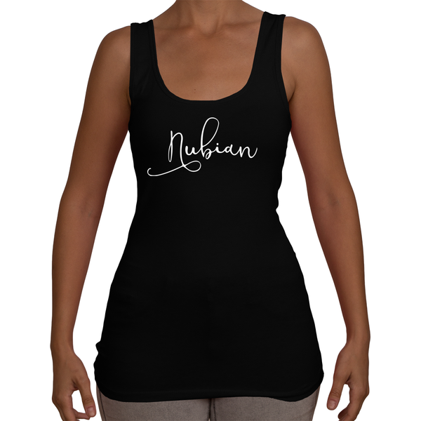 Ladies Nubian Tank Top T-Shirt (White Logo)