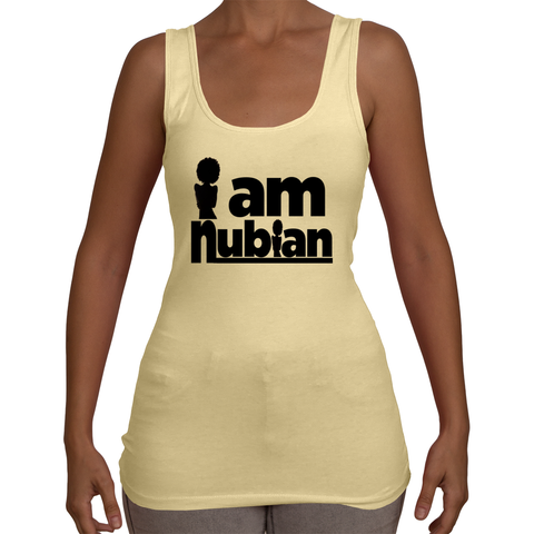 Ladies i am Nubian Tank Top T-Shirt (Black Txt)