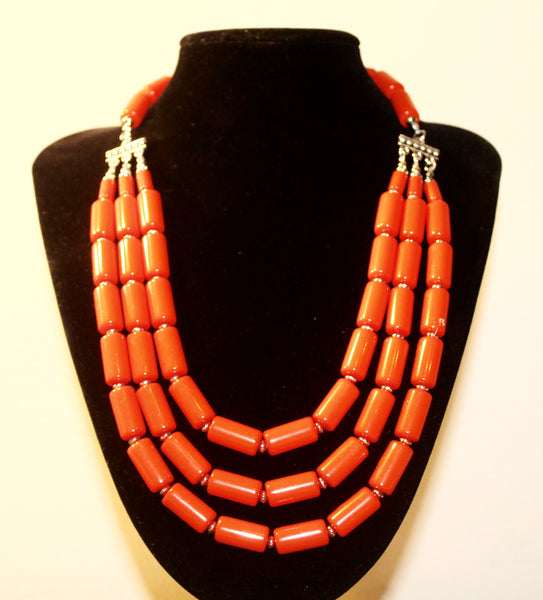 Coral African Beaded Necklace with Earrings - Nubian Goods