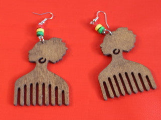 Earrings - Afro Comb with Beads - Nubian Goods
