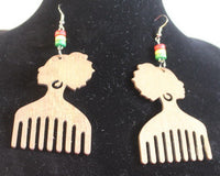 Earrings - Afro Comb with Beads