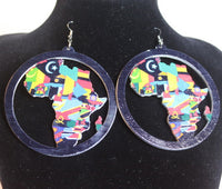 Earrings - Africa Map Colors in Circle - Nubian Goods
