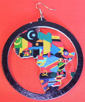 Earrings - Africa Map Colors in Circle