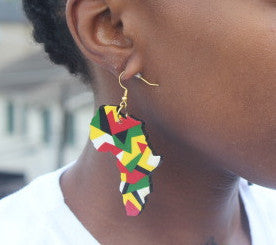 Earrings - Africa Map Colors