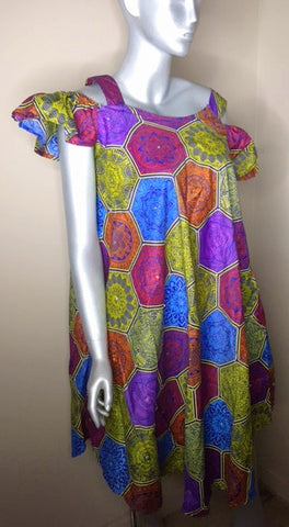 Ladies Ankara off shoulder dress - Nubian Goods