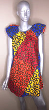 Ladies Ankara high shoulder dress - Nubian Goods