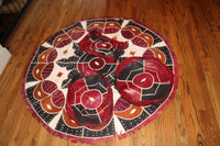 Leather Indoor Circular Area Rug and 3 Cushions Set