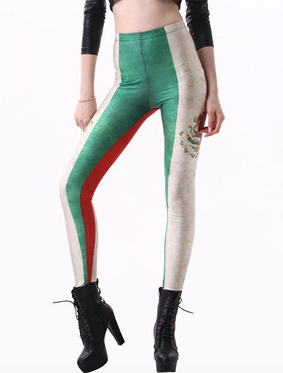 Printed Leggings Mexican Flag - Nubian Goods