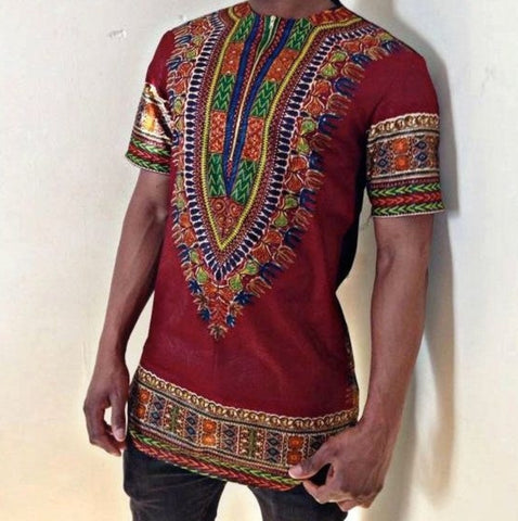 Short Sleeve Printed African Colorful Casual Shirt
