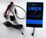 UberSelect illuminated glowing blue light sign