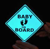 "Blue illuminated ""Baby on Board"" glow light sign for car safety"
