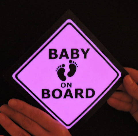 Baby on Board sign - illuminated glowing pink light-up sign for car safety