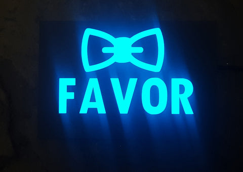 "Blue ""Favor"" glow light sign, 6"" x 4"" (illuminated EL, better than LED)"