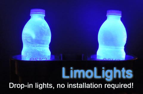 LimoLights™ Cupholder Illuminated Discs - Easy Drop-in Ambiance Lighting