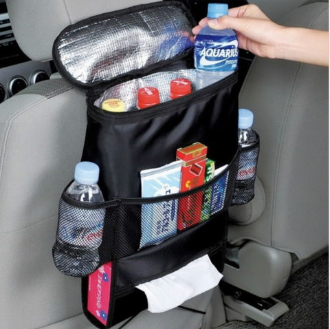 Insulated car seat organizer and bottle holder