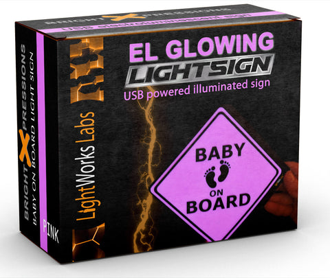 "Pink illuminated ""Baby on Board"" glow light sign for car safety"