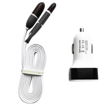 2-Port USB Car Charger for Smartphones & Tablets, with Bonus 2-in-1 Cable for iPhones and Android Devices