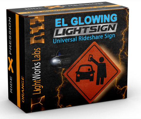 Orange illuminated, glowing rideshare light sign (ideal for rear window)