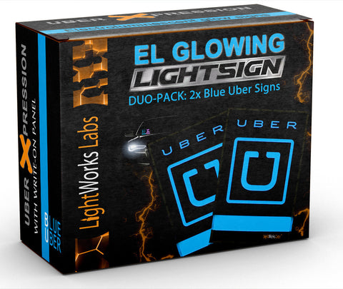 "Duo package: 2 x Blue Uber ""U"" illuminated glow light signs"