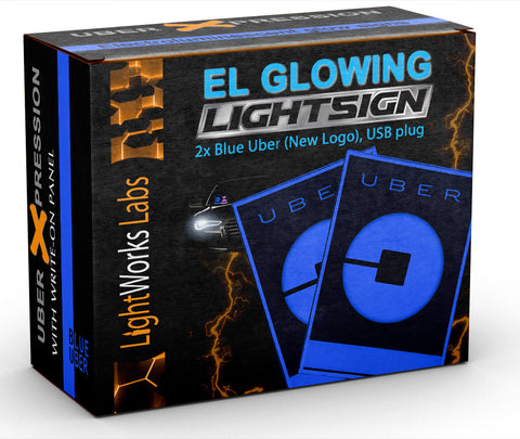 Duo package: set of 2 blue illuminated Uber glow light signs (with 2016 modern logo)