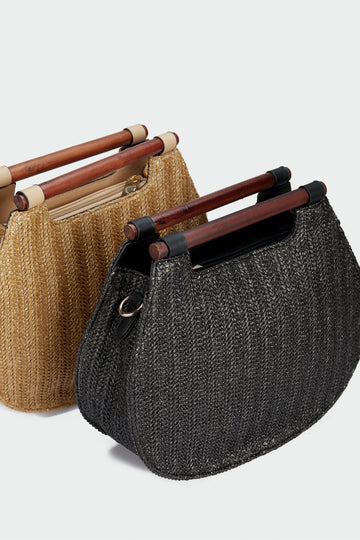 Wicker pouch bag con asa recta