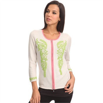 ladies cashmere hand beaded cardigan