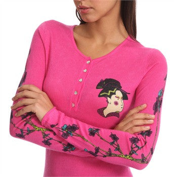 Cashmere sweater - Lightweight printed Geisha design