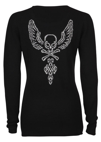 ladies cashmere sweater Skull and Wings