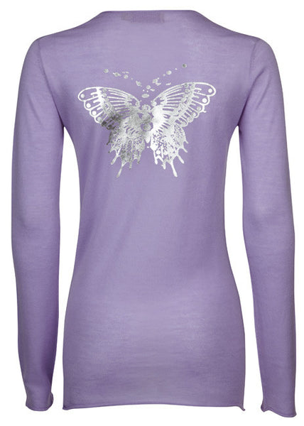 ladies superfine cashmere sweater with silver butterfly
