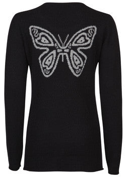 ladies cashmere long sleeve sweater with Butterfly design