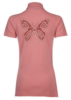 ladies cashmere Polo sweater with Butterfly design