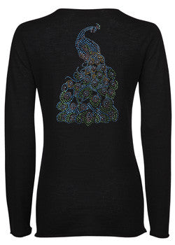 ladies superfine cashmere sweater with Peacock diamante