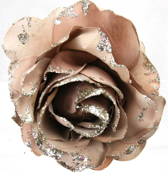 Glitter Fabric Rose with clip