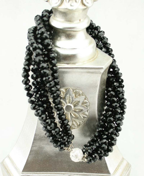 Large Crystal Twist Necklace with Diamante Magnet Clasp