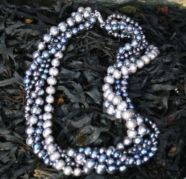 3 Strand Dark Pearl Necklace