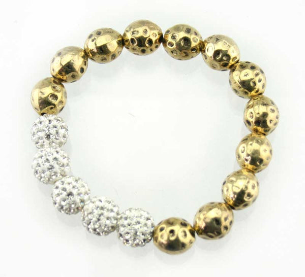 Diamante bead and metal bead stretch bracelet