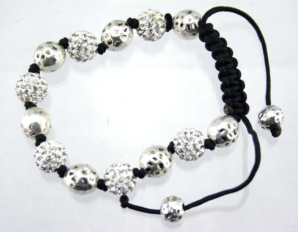 Diamante bead and rope bracelet