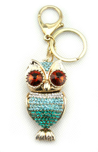 Diamante Owl Key Ring